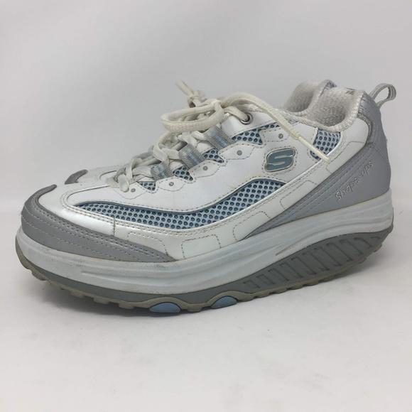 Skechers Shape Ups White Grey 6.5 Womens 11803